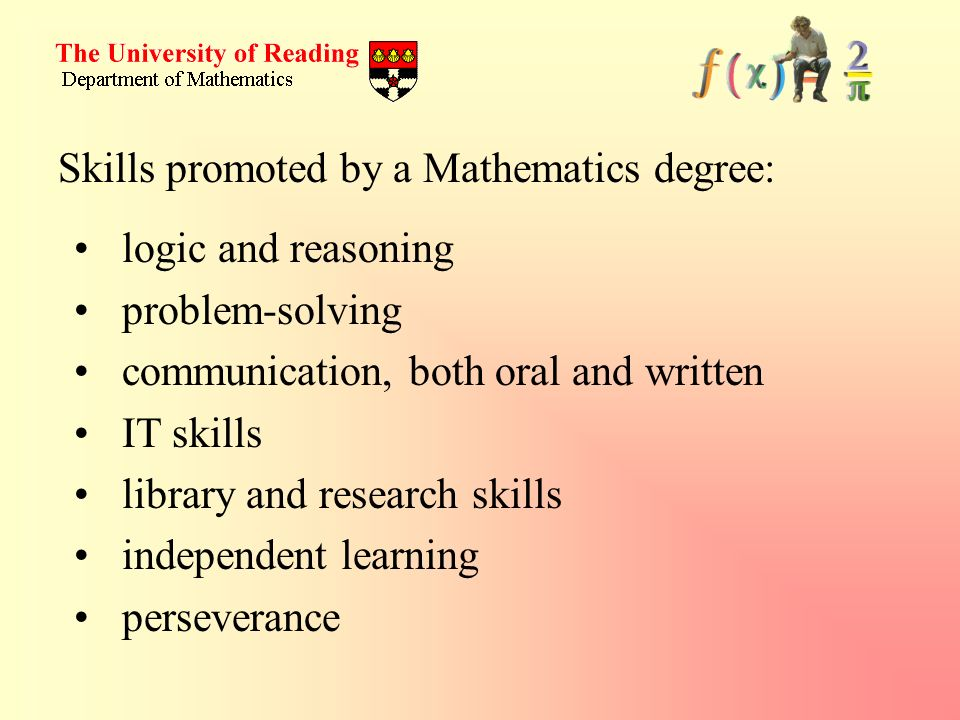 Skills promoted by a Mathematics degree: