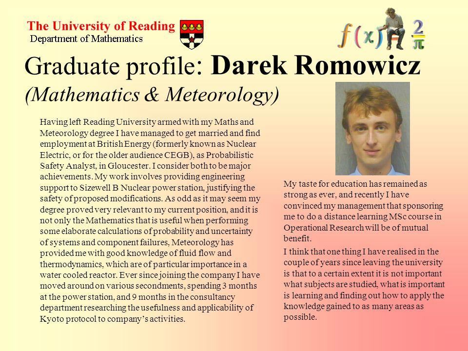 Graduate profile: Darek Romowicz (Mathematics & Meteorology)