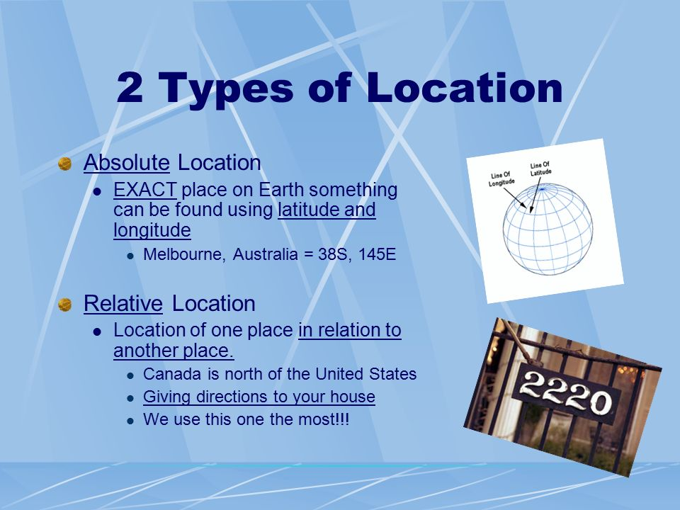 What is geography 5 themes of geography ppt video online 2 types of location absolute location relative location sciox Choice Image