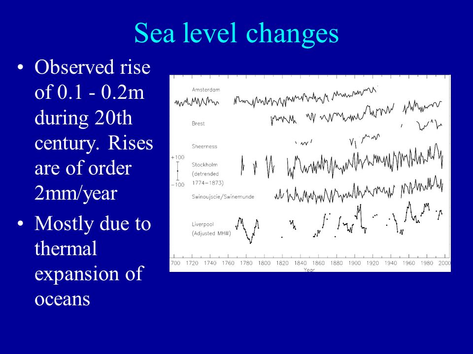 Sea level changes Observed rise of 0.1 - 0.2m during 20th century.