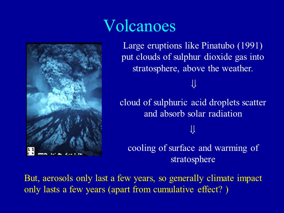 Volcanoes Large eruptions like Pinatubo (1991) put clouds of sulphur dioxide gas into stratosphere, above the weather.