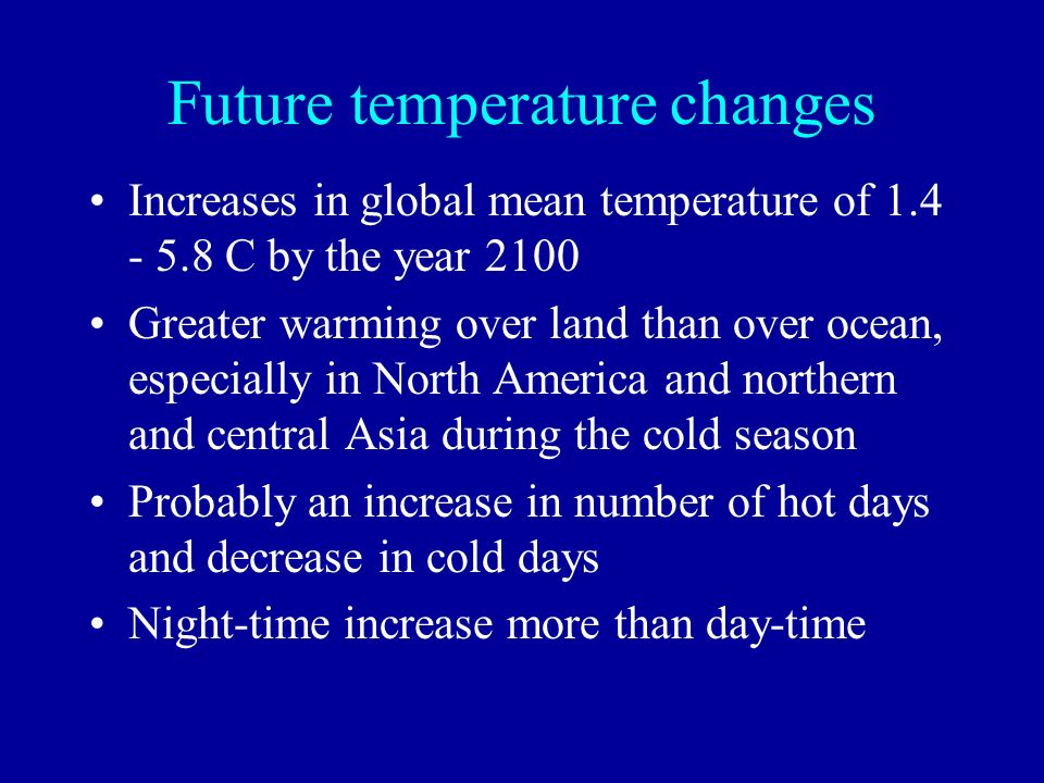 Future temperature changes