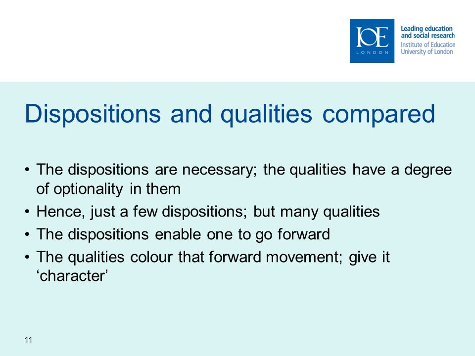 Dispositions and qualities compared