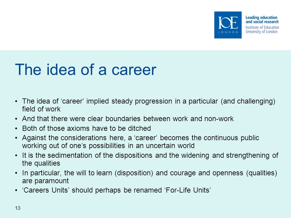 The idea of a careerThe idea of 'career' implied steady progression in a particular (and challenging) field of work.