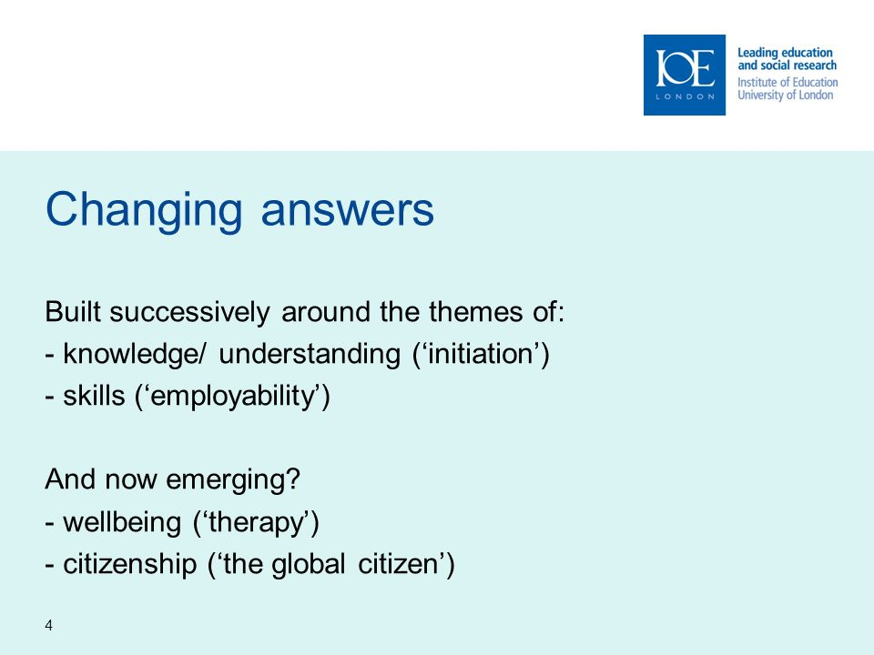 Changing answers Built successively around the themes of: