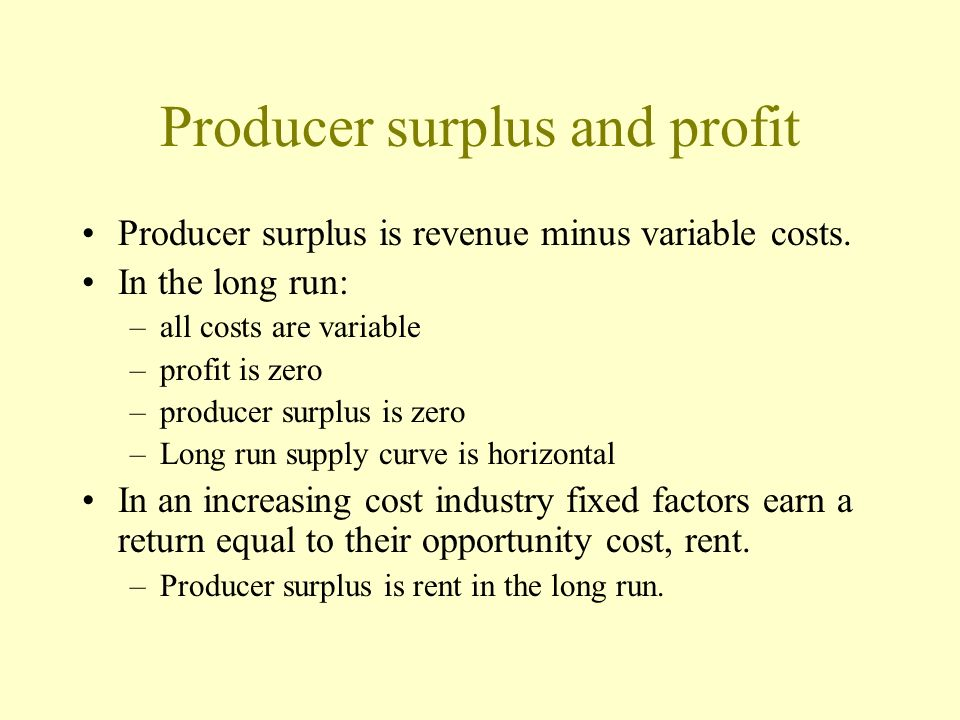 Producer surplus and profit