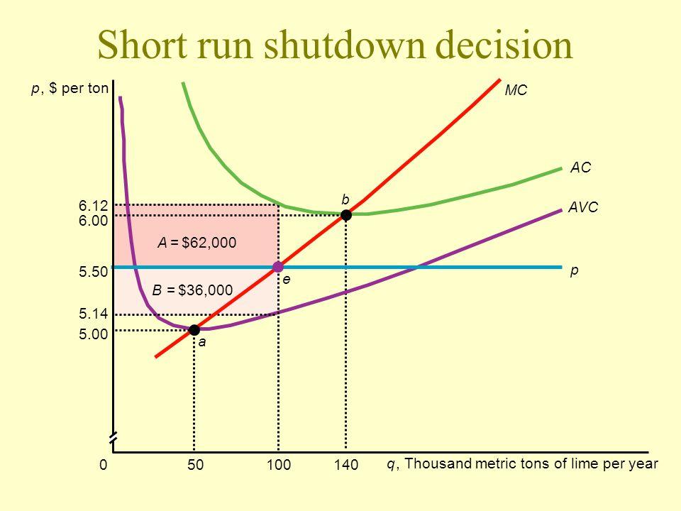Short run shutdown decision
