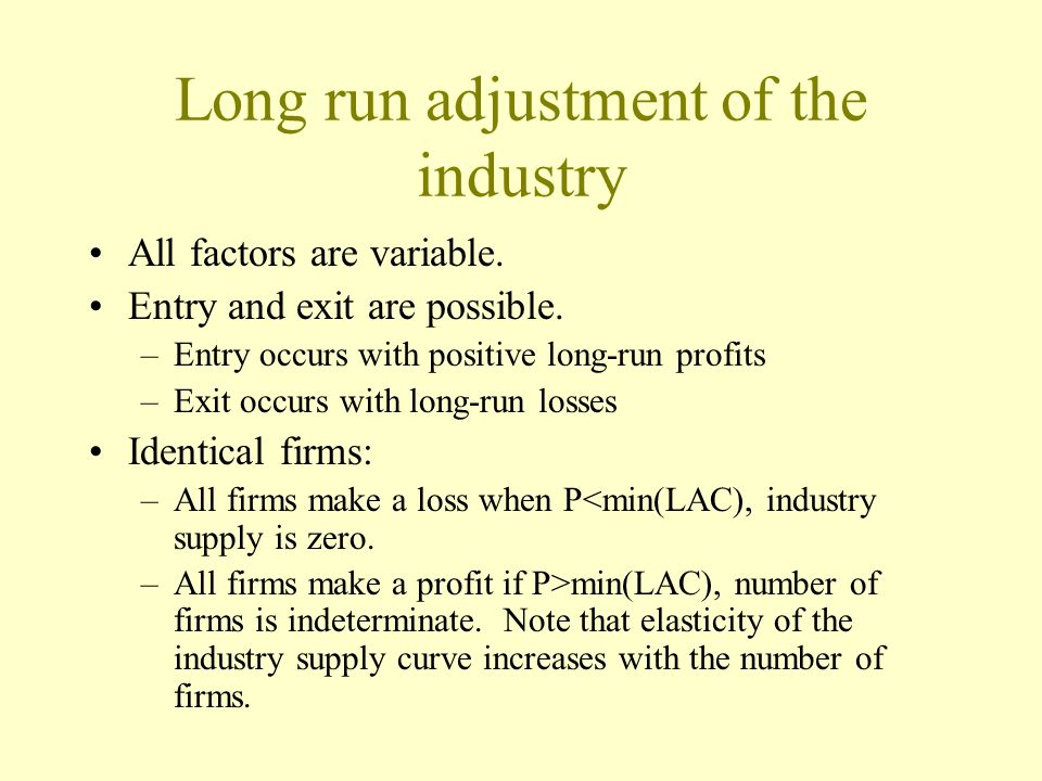 Long run adjustment of the industry