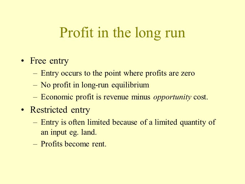 Profit in the long run Free entry Restricted entry