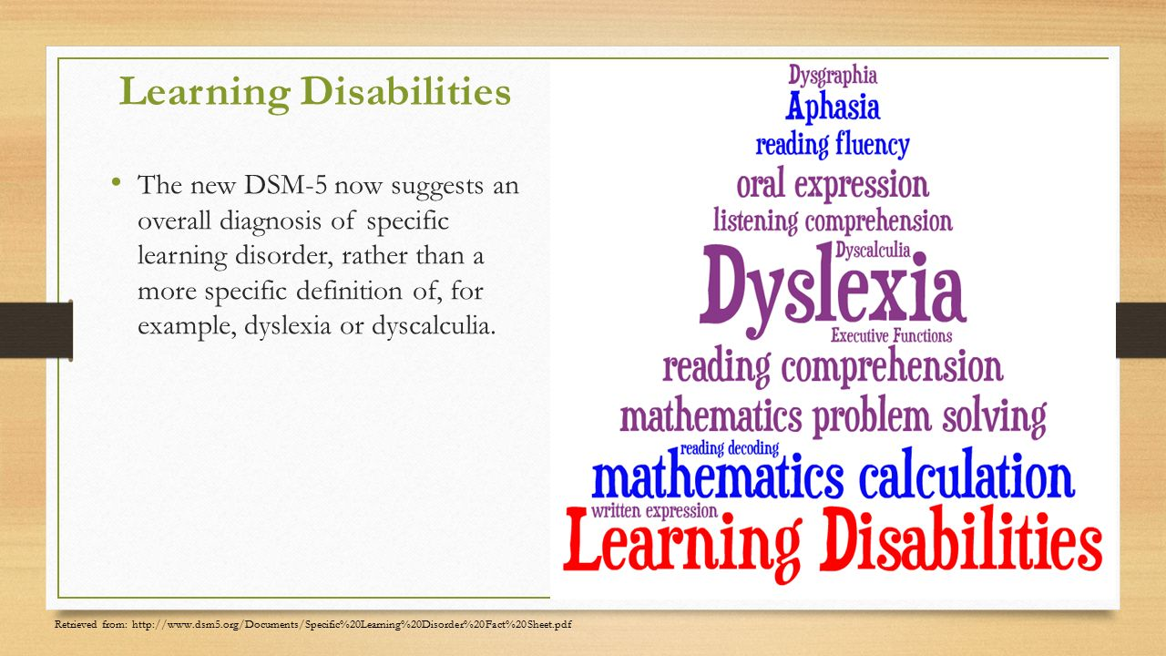 describing the characteristics causes and definition of learning disabilities communication disorder Specific learning disorder has the learning difficulties are not better accounted for by intellectual disabilities  the following describe the updated.