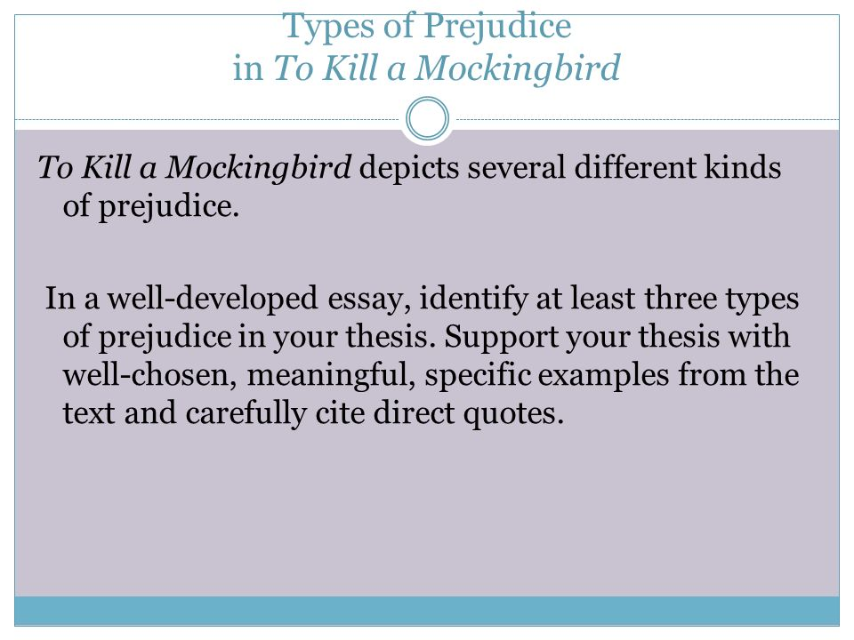 essay on the theme of prejudice in to kill a mockingbird Essays and criticism on harper lee's to kill a mockingbird - to kill a mockingbird, harper lee  the mockingbird, further develops the theme of racial prejudice for christmas, scout and jem.