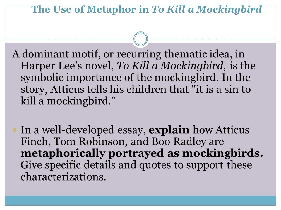 to kill a mockingbird characterization essay Classic, to kill a mockingbird see is a non-profit teaching organization based in milford, connecticut, with the mission to provide learning experiences that advance ethics and character the following to kill a mockingbird (tkam) unit is designed to be taught to students in middle or high school.