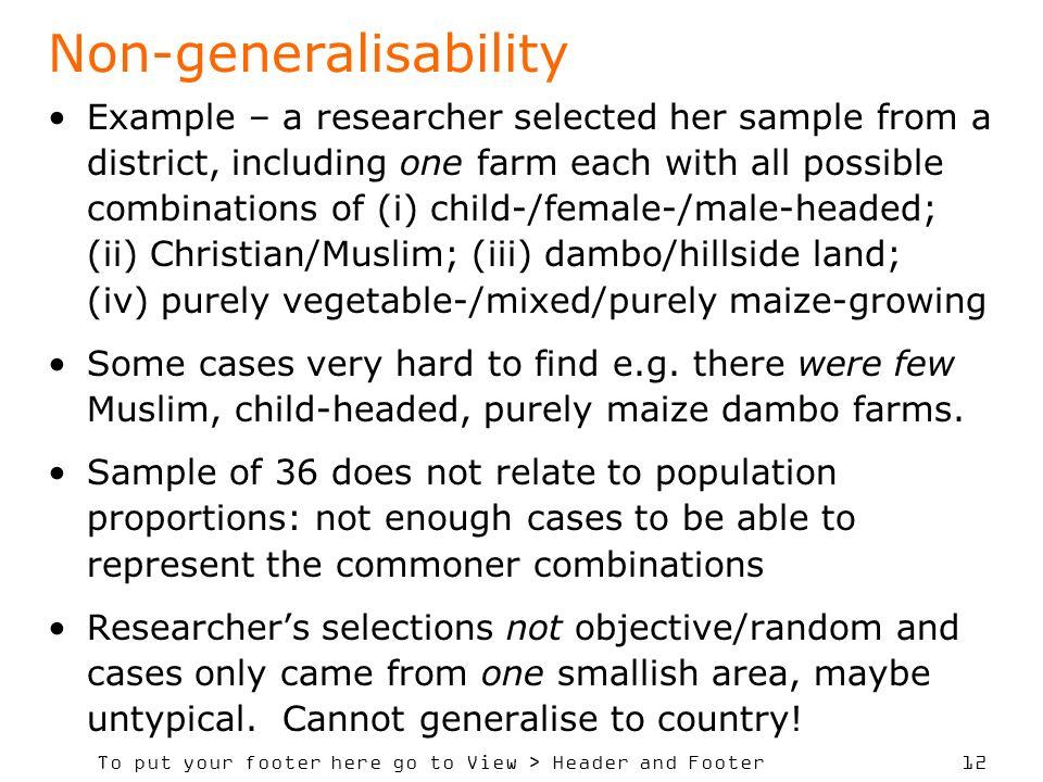 Non-generalisability