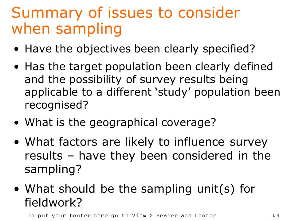 Summary of issues to consider when sampling
