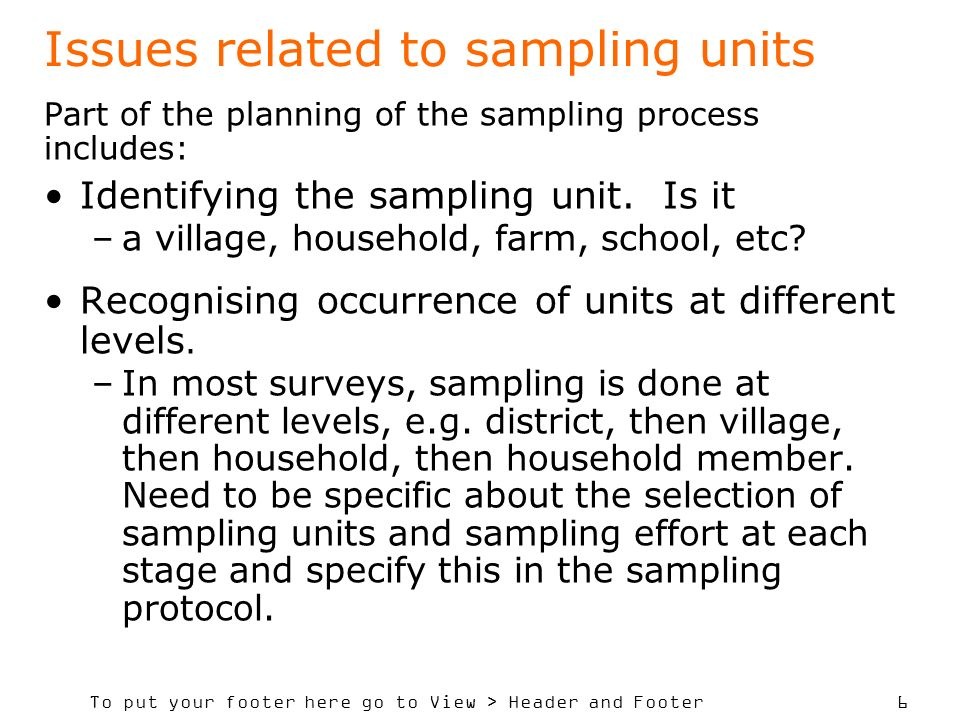 Issues related to sampling units