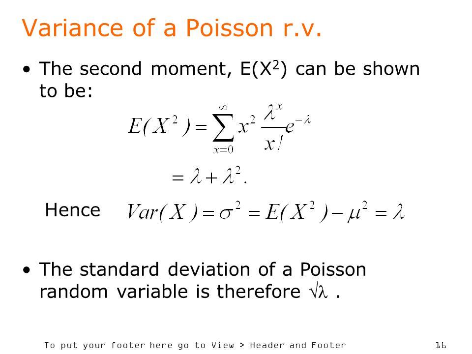 Variance of a Poisson r.v.