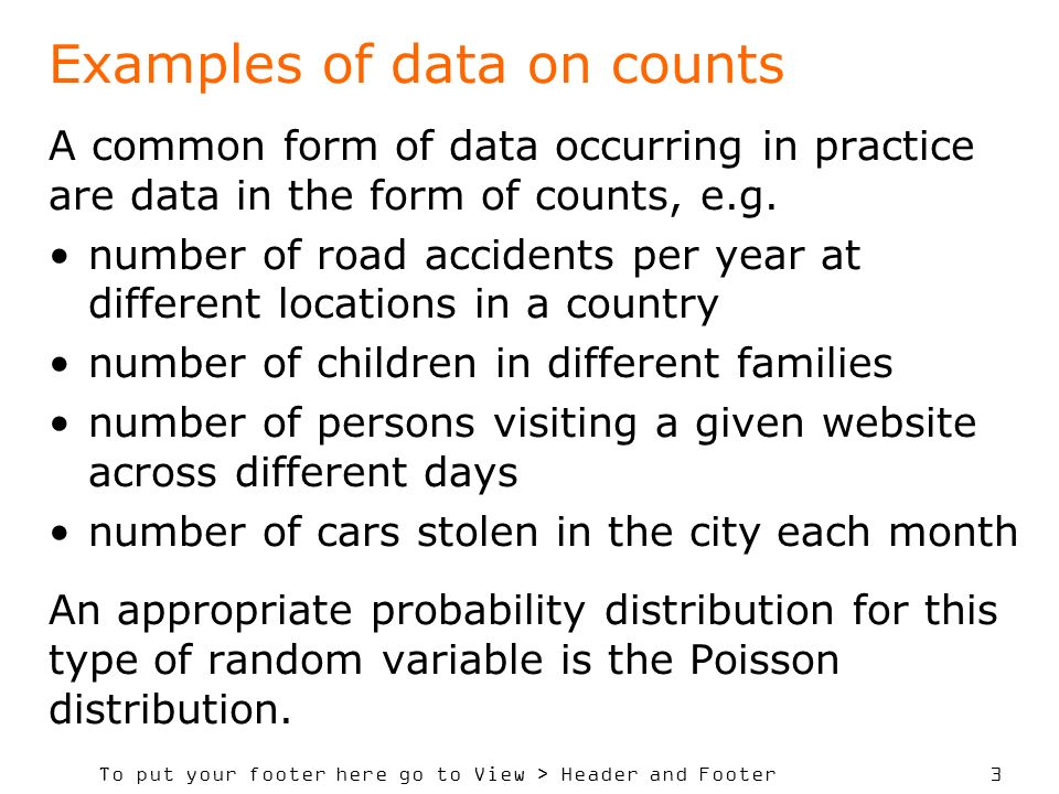 Examples of data on counts