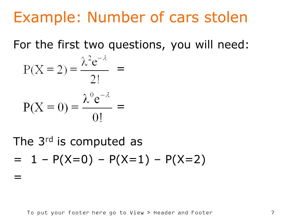Example: Number of cars stolen
