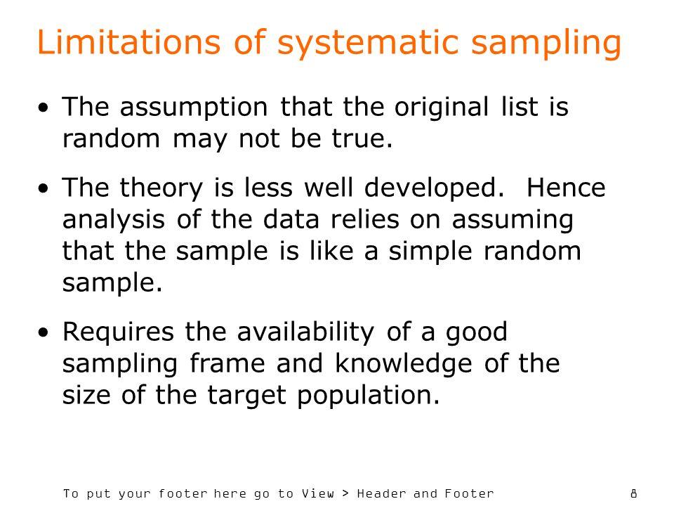 Limitations of systematic sampling