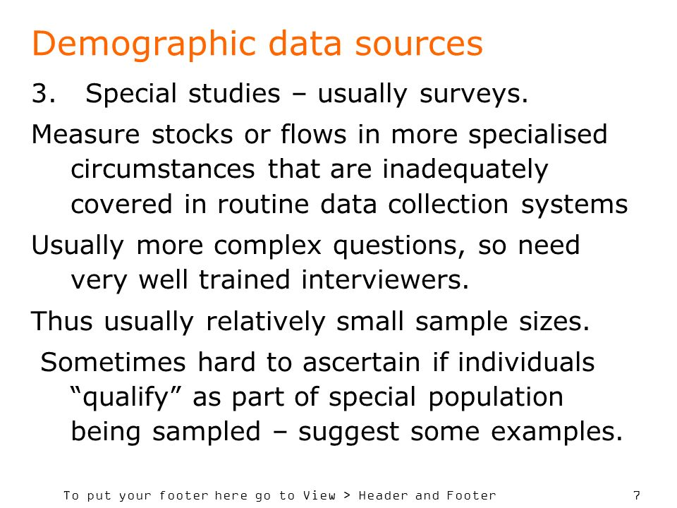 Demographic data sources