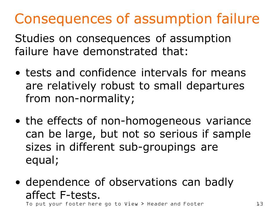 Consequences of assumption failure