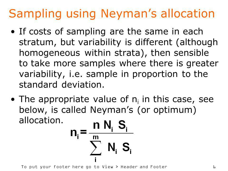 Sampling using Neyman's allocation