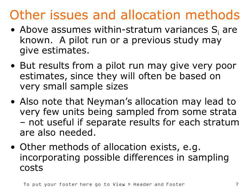 Other issues and allocation methods