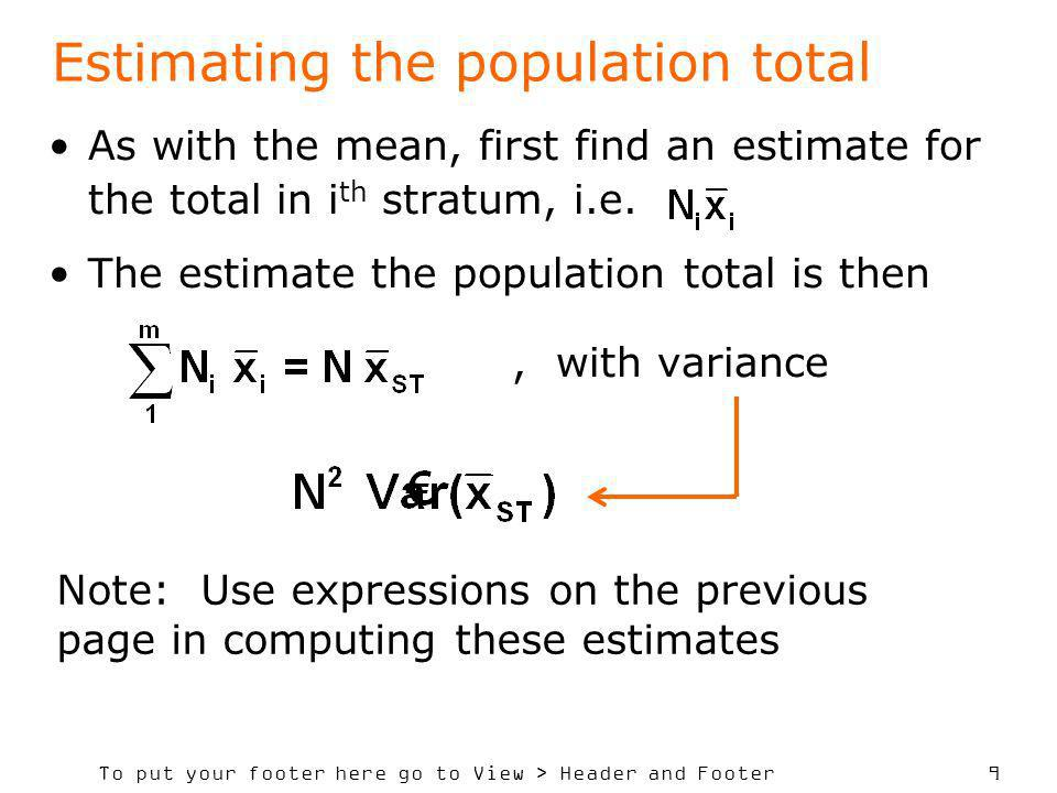 Estimating the population total