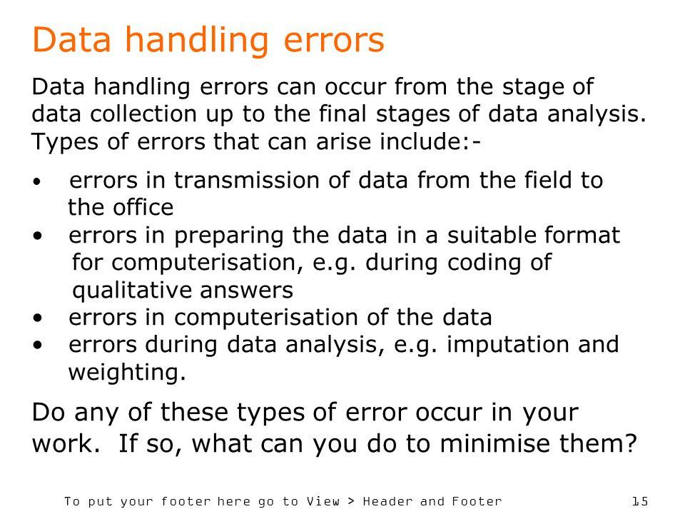 Data handling errors