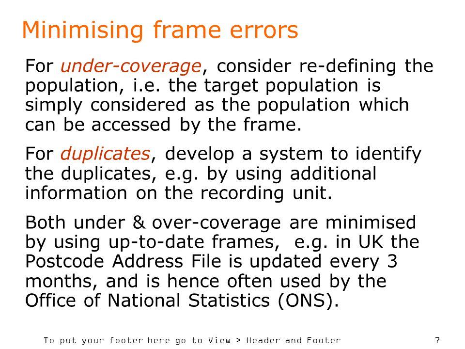Minimising frame errors