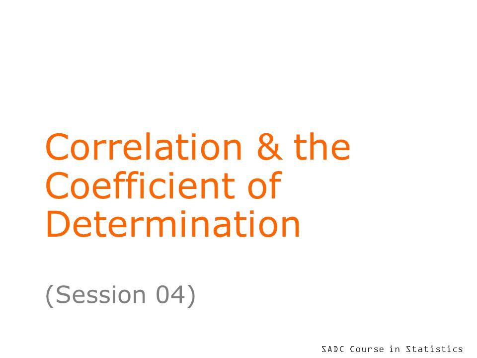 Correlation & the Coefficient of Determination