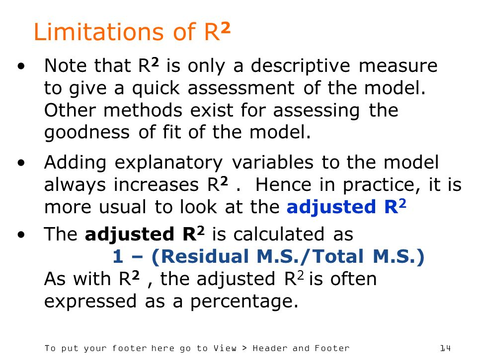 Limitations of R2