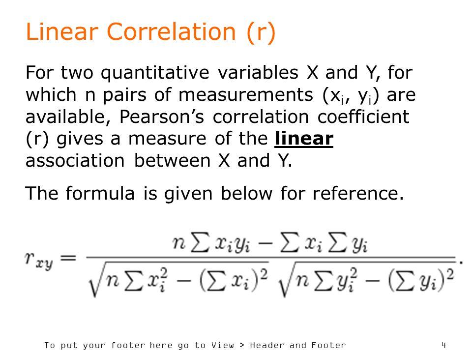 Linear Correlation (r)