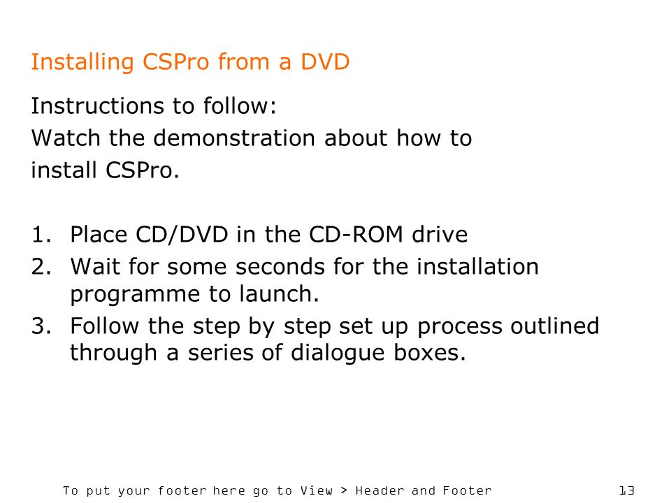 Installing CSPro from a DVD