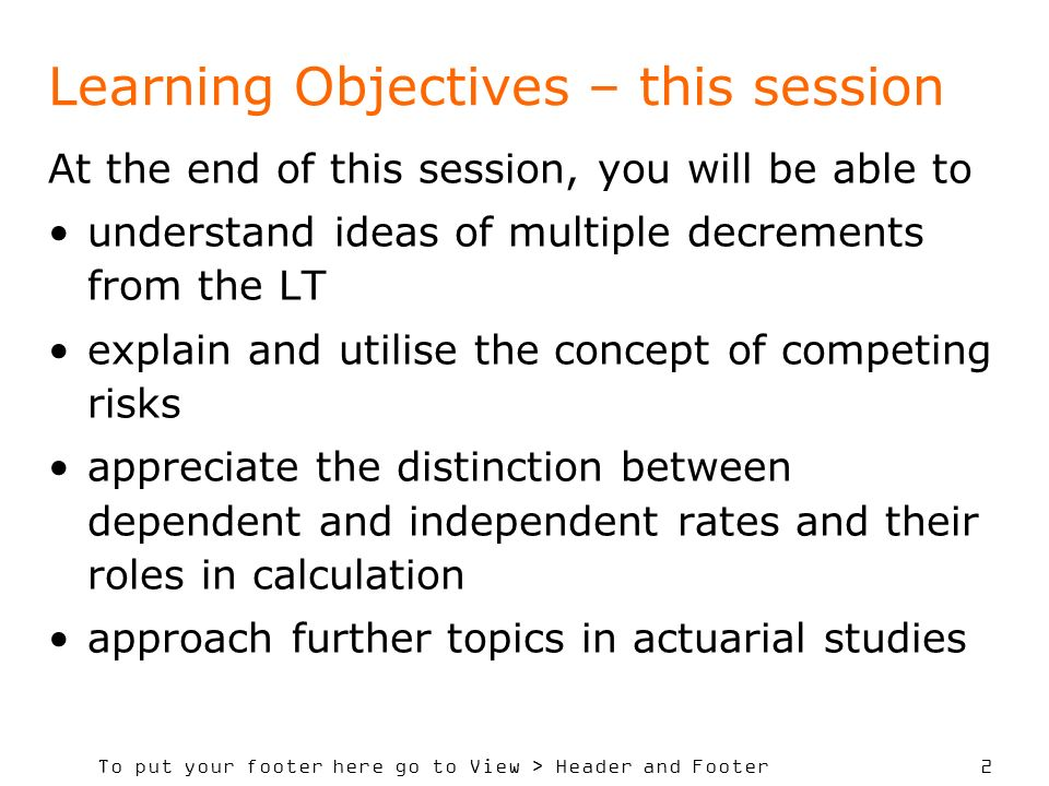 Learning Objectives – this session