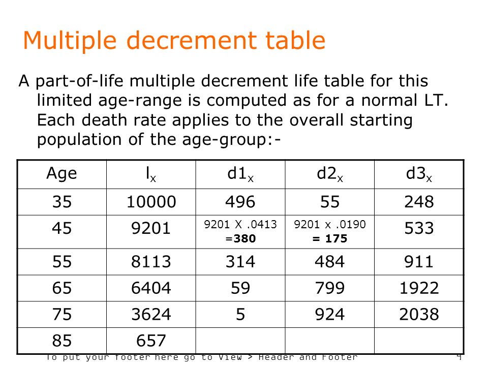 Multiple decrement table