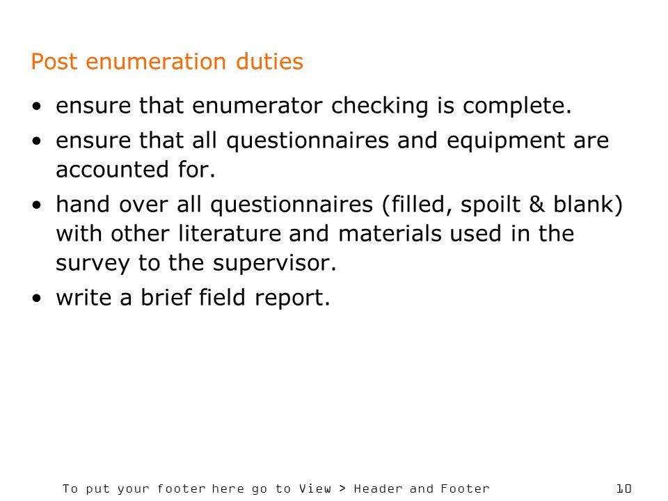 Post enumeration duties