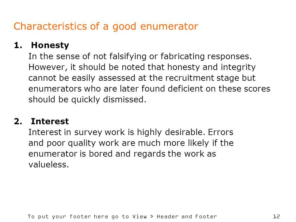 Characteristics of a good enumerator