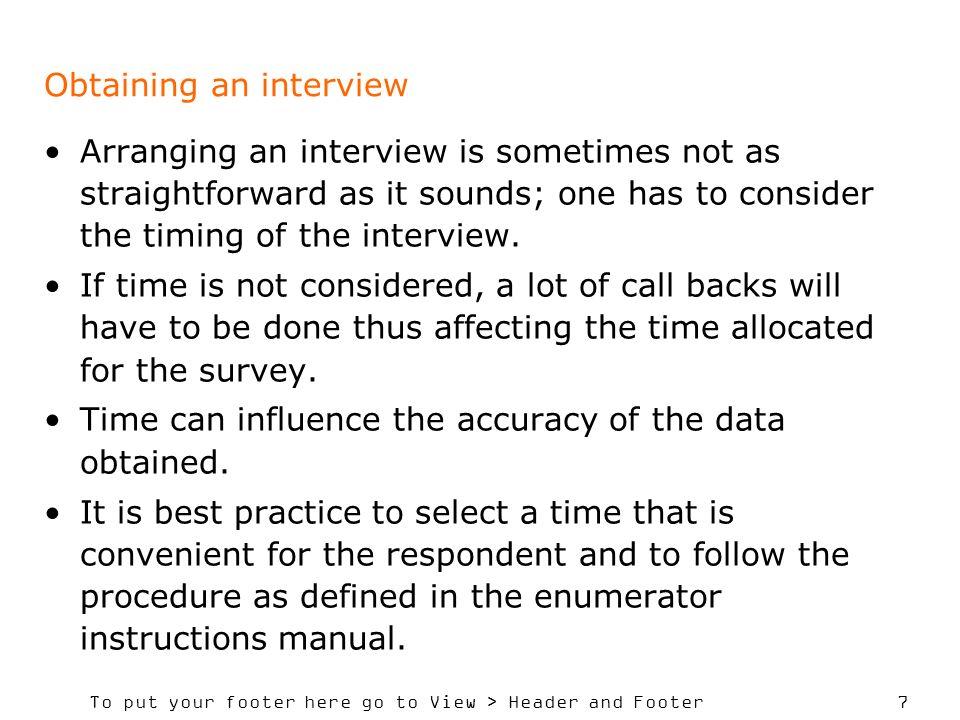 Obtaining an interview