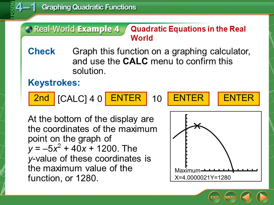 real world quadratic functions week 4