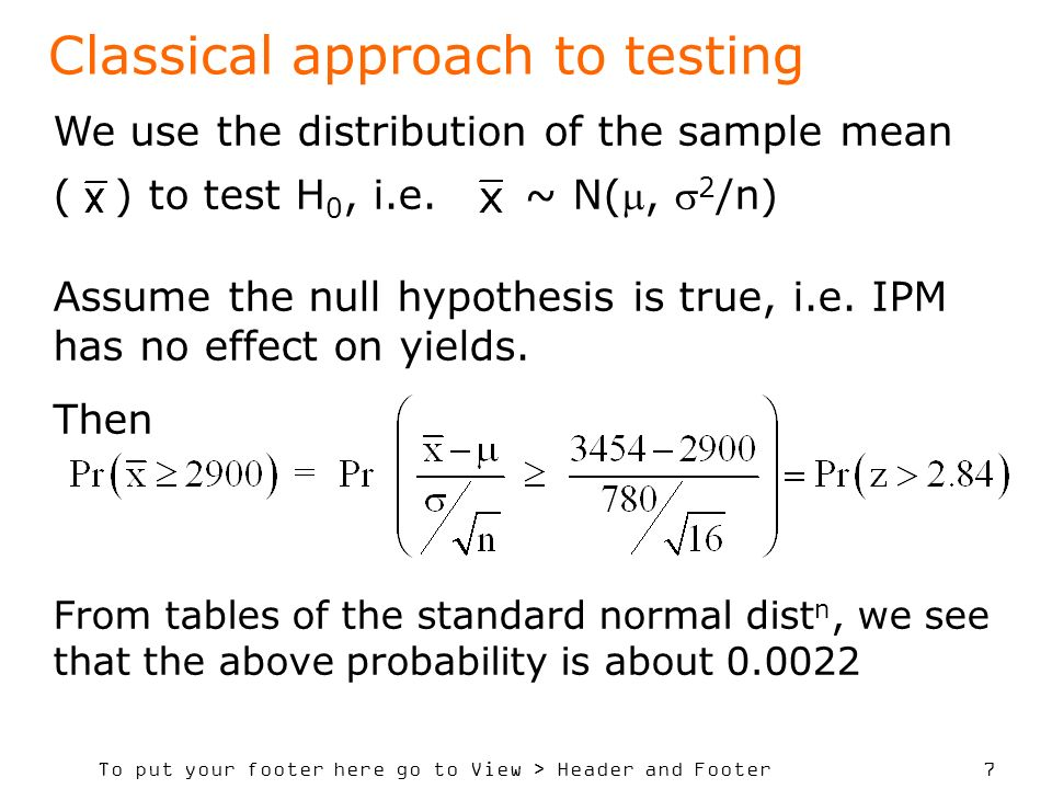 Classical approach to testing