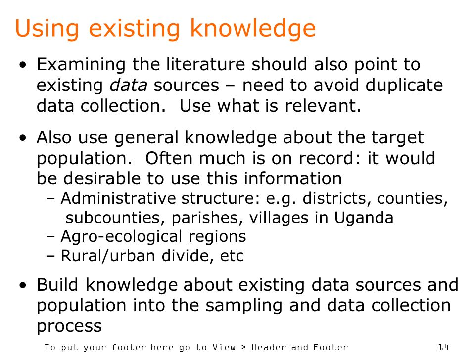 Using existing knowledge