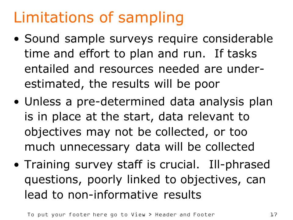 Limitations of sampling