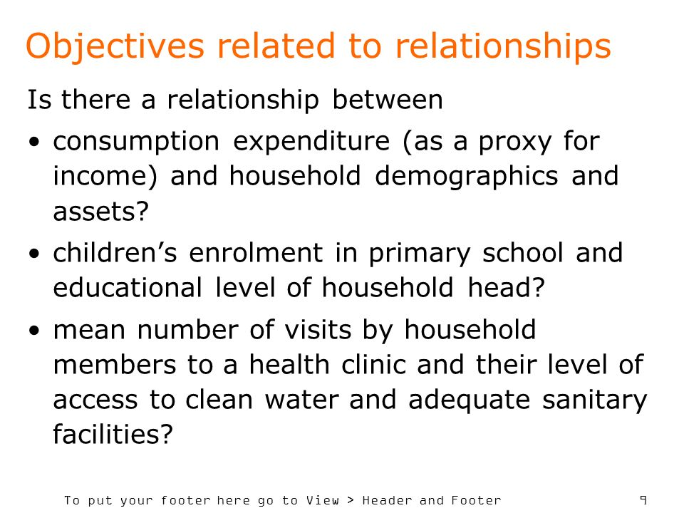 Objectives related to relationships