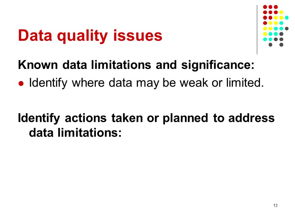 Data quality issues Known data limitations and significance: