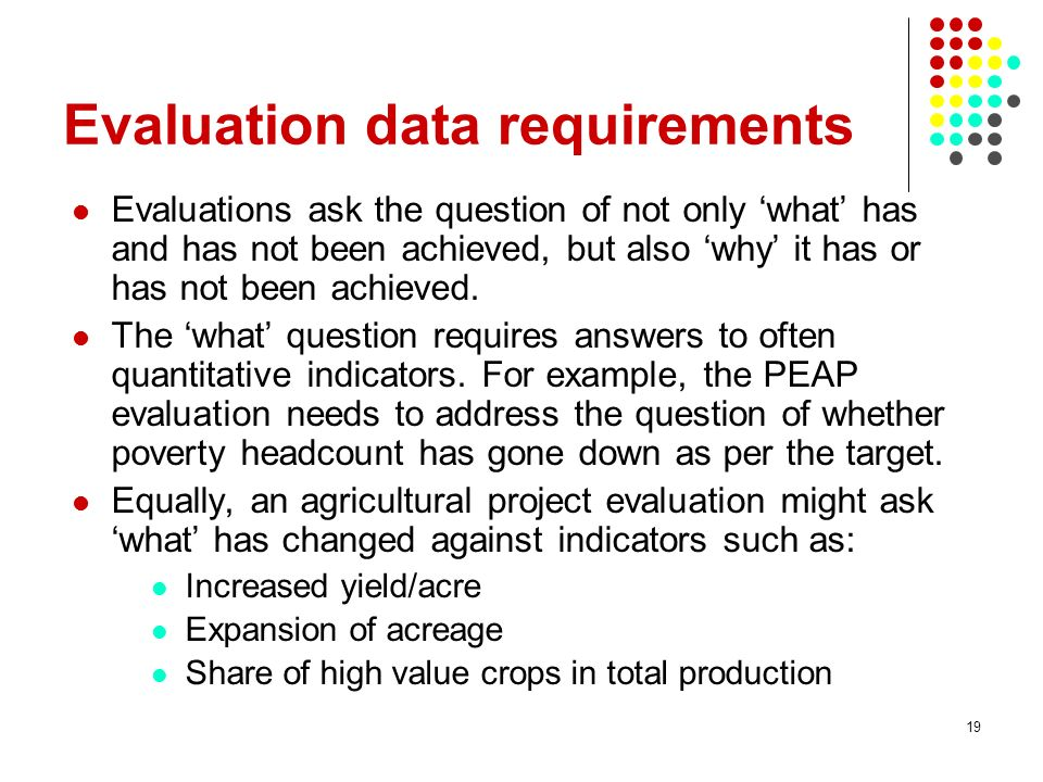Evaluation data requirements