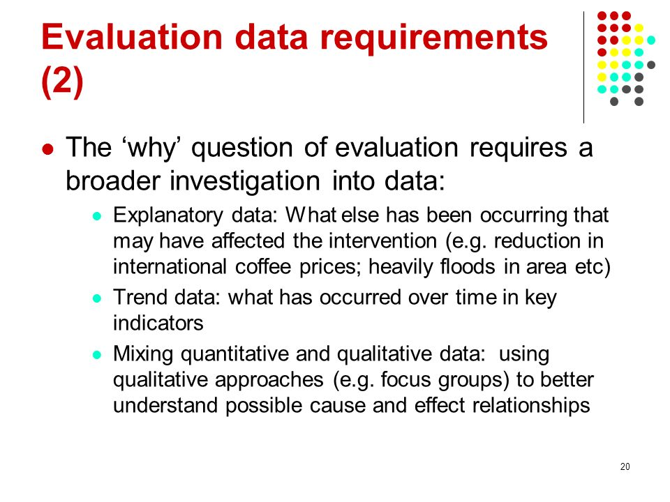 Evaluation data requirements (2)