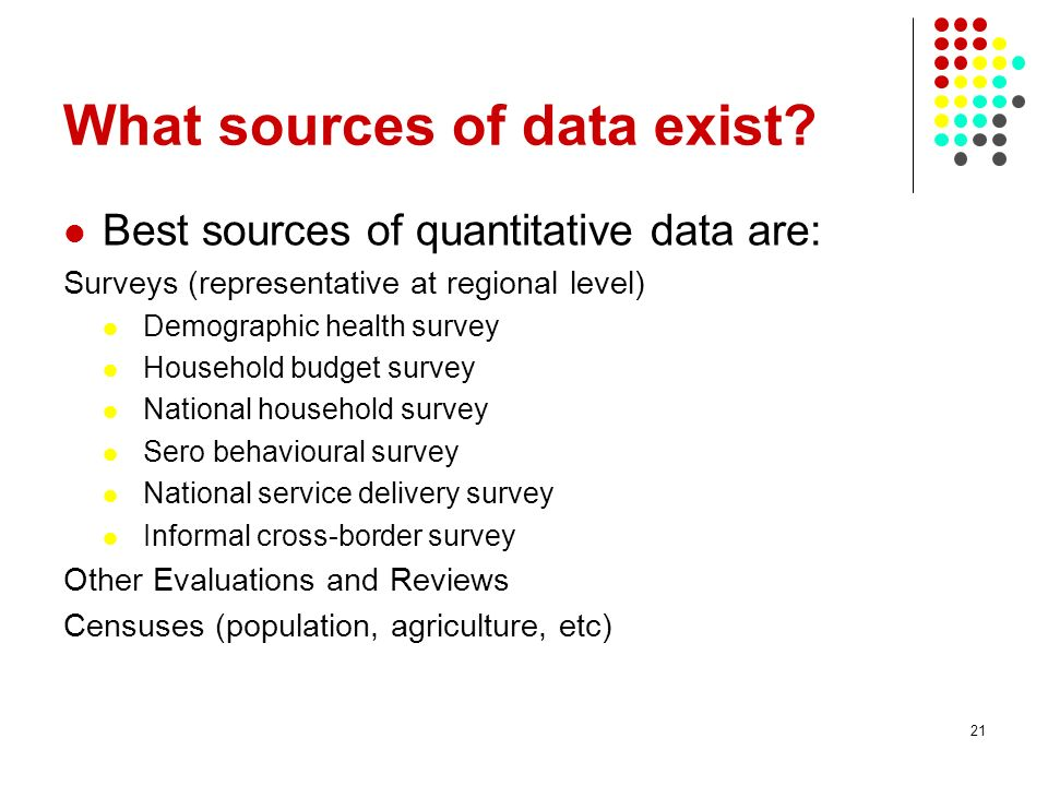 What sources of data exist