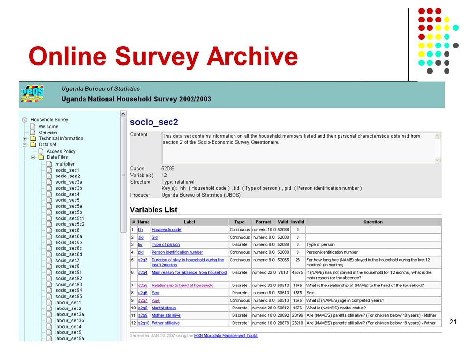 Online Survey Archive