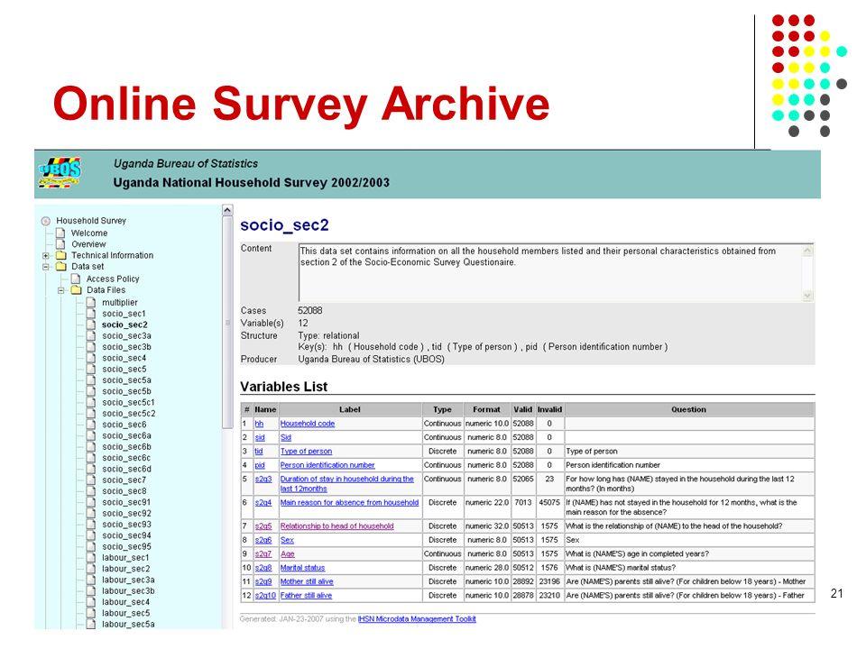 Online Survey Archive